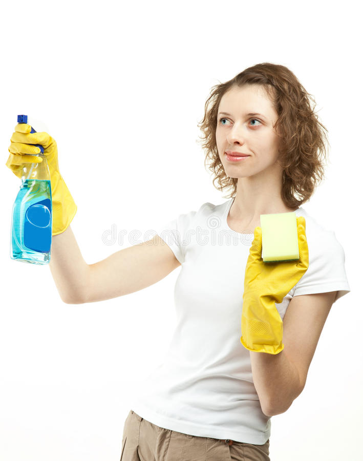 Young Woman Cleaning Something Stock Photo