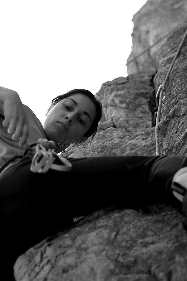 Young Woman Climbing Herculane stock images