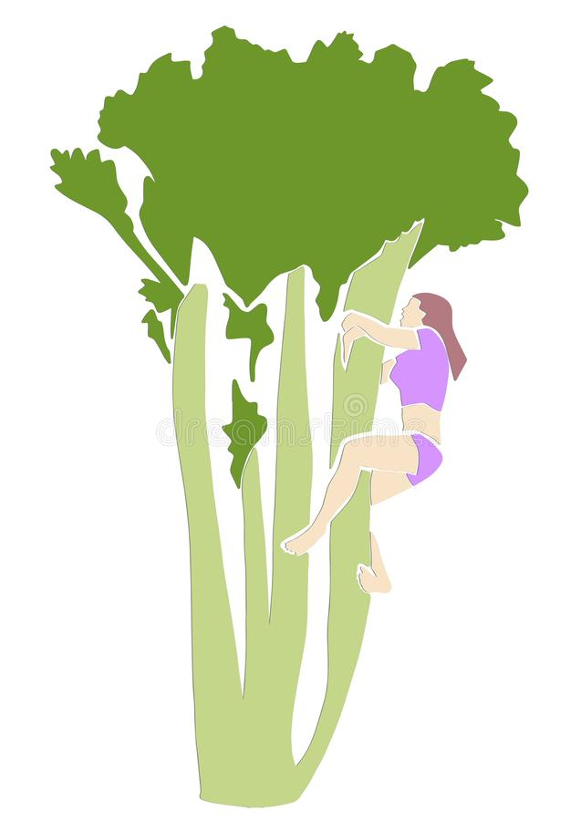 Young woman climbs up the celery. vector illustration