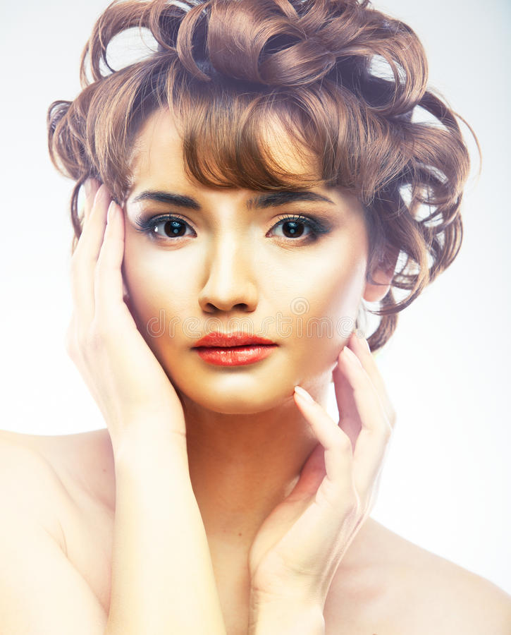 Young Woman Close Up Face Beauty Portrait On White