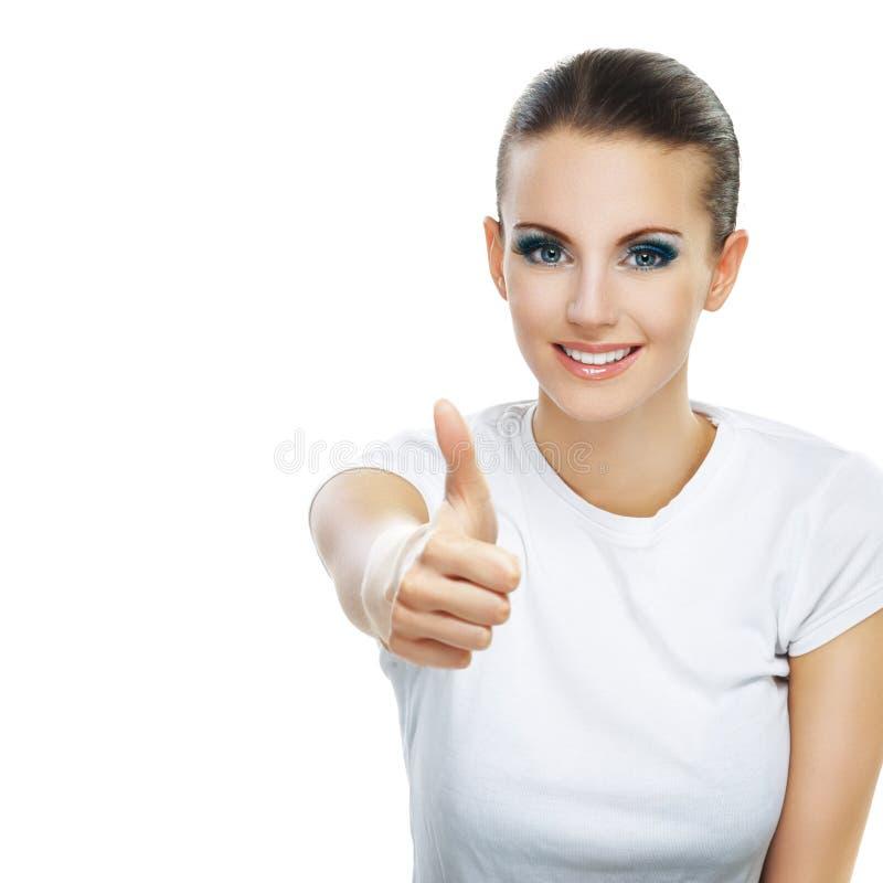 Young Woman Close-up Raises Thumbs Royalty Free Stock Photos