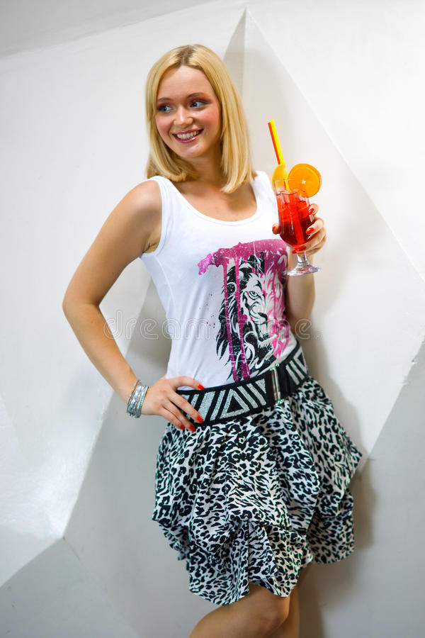 Download Young Woman With Cocktail In A Bar Stock Image - Image: 10417157