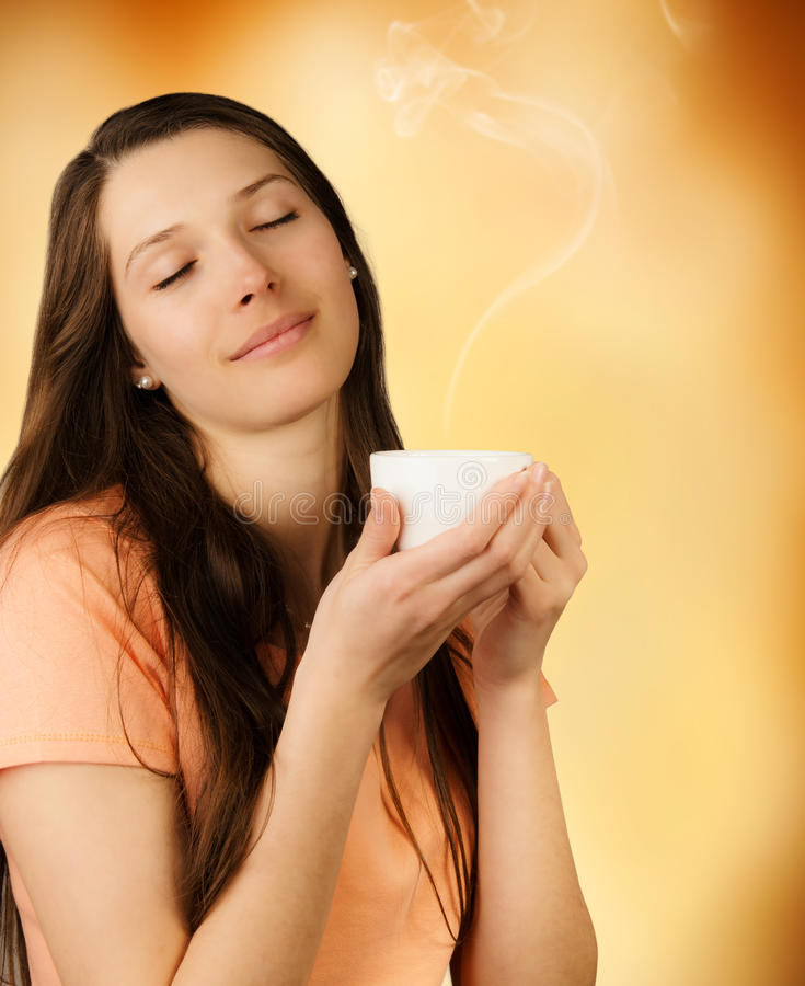 Young woman with coffee royalty free stock image