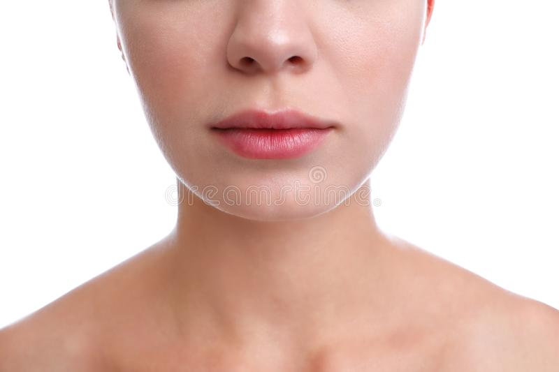 Young woman with cold sore on lips against background, closeup. Young woman with cold sore on lips against white background, closeup stock images