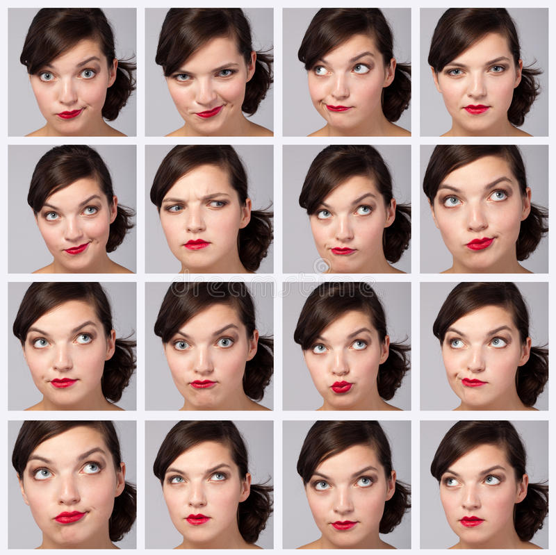 Young Woman Collection of Expressions. Beautiful Young Woman Collection of Expressions royalty free stock images