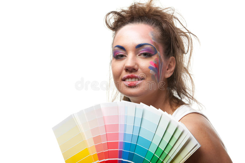 Download Young Woman With A Color Guide. Stock Image - Image: 17911239