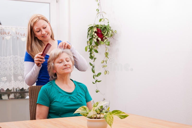 Download Young Woman Combing Seniors Hair Stock Image - Image: 30559523