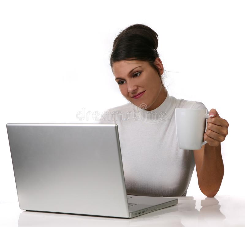 Young woman on Computer royalty free stock photo