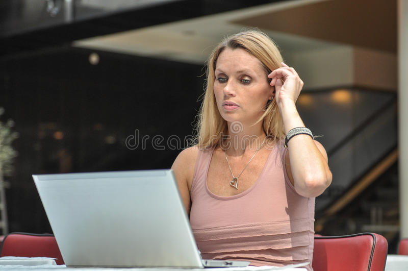 Download Young woman computer stock photo. Image of online, asking - 33047384