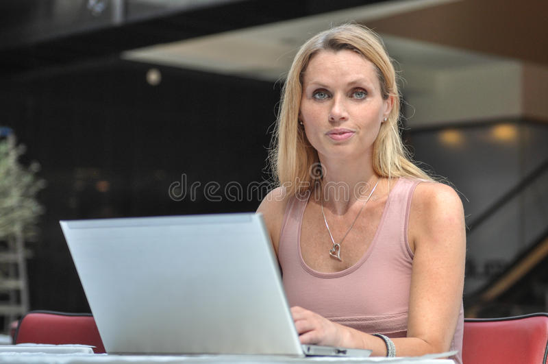Download Young woman computer stock image. Image of device, woman - 33047389