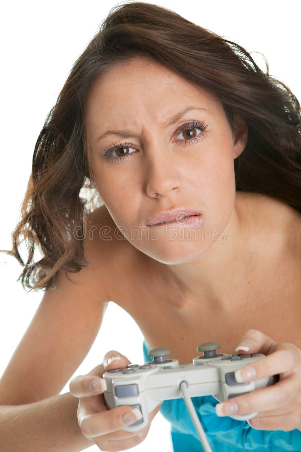 Young woman concentrated on videogame