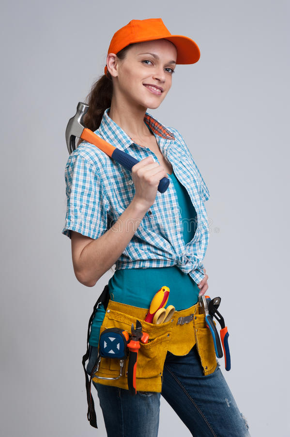 Young woman construction worker royalty free stock images