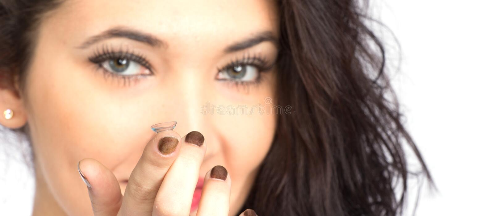 Download Young Woman With Contact Lense Stock Photo - Image: 28624036
