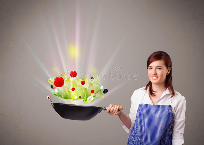 Download Young Woman Cooking Fresh Vegetables Royalty Free Stock Photography - Image: 28655867