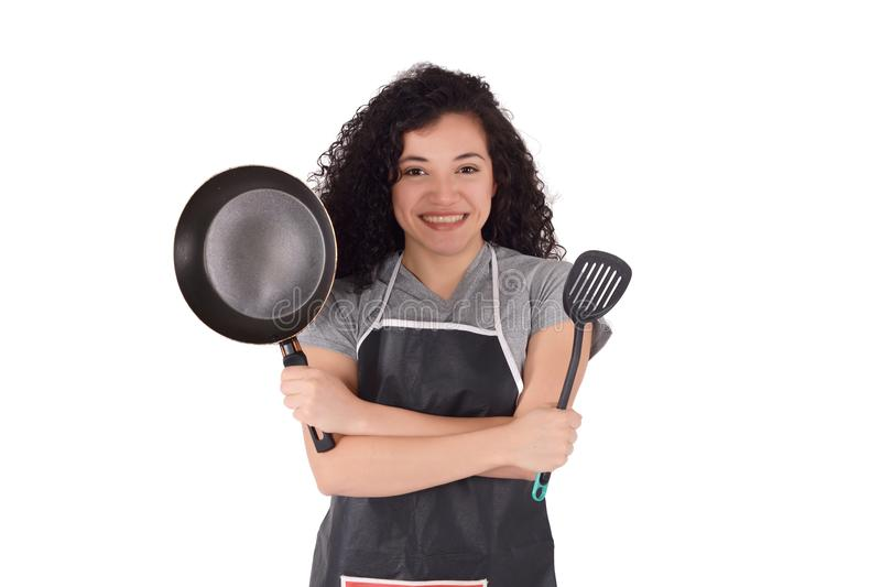 Young woman cooking royalty free stock photo