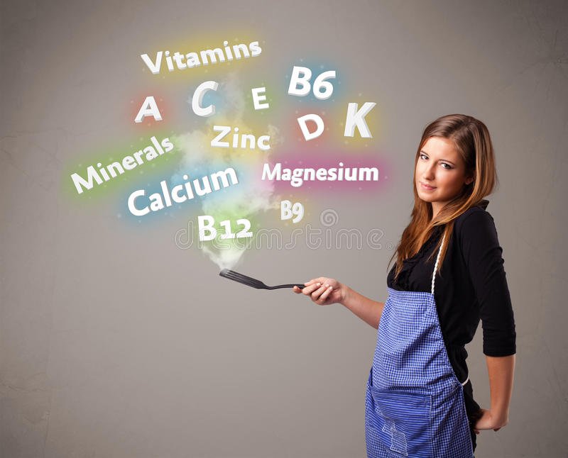 Young woman cooking vitamins and minerals. Pretty young woman cooking vitamins and minerals stock illustration