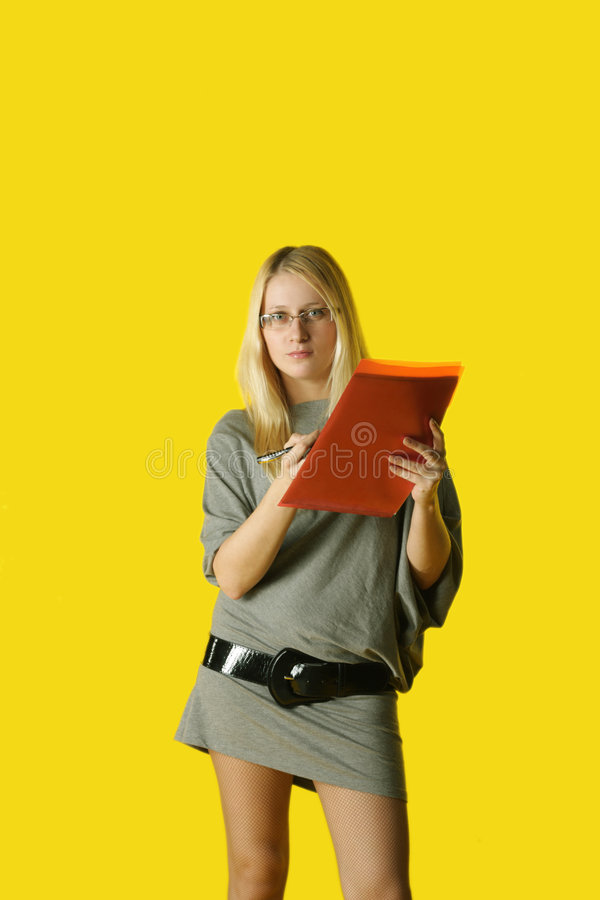 Young woman with copy holder stock photo