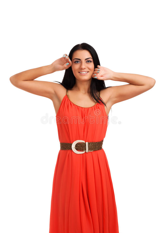 Download Young woman in coral dress stock photo. Image of glamour - 28438456