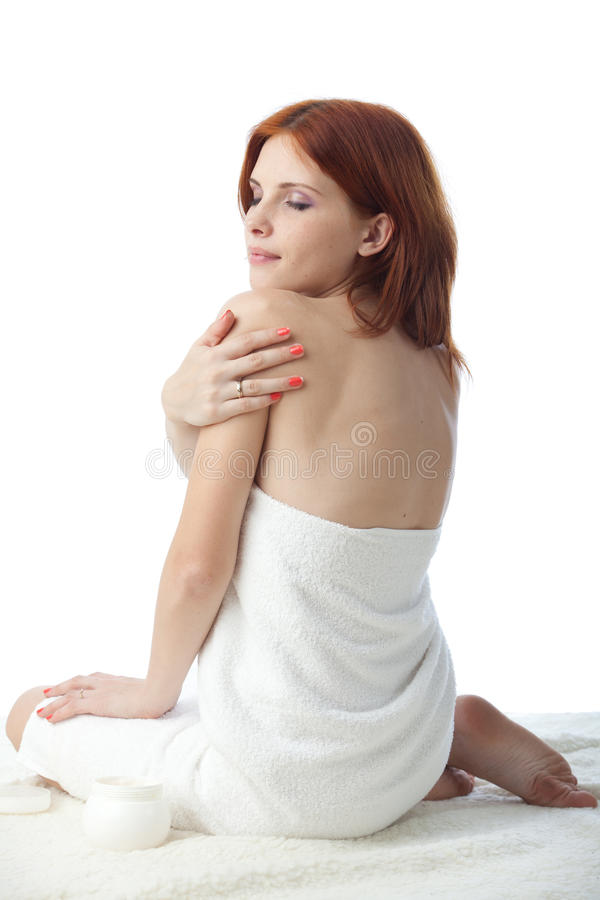 Download Young Woman With Cosmetic Cream Stock Image - Image of adult, medical: 17229637