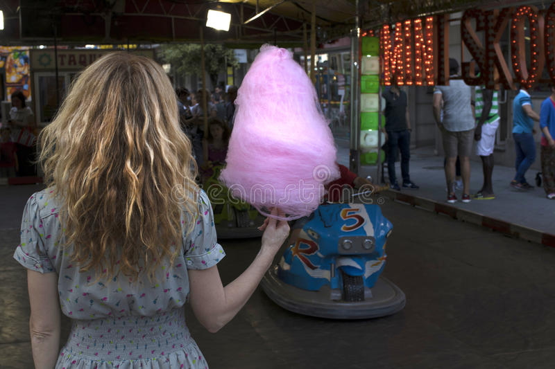 Woman with cotton candy royalty free stock photos