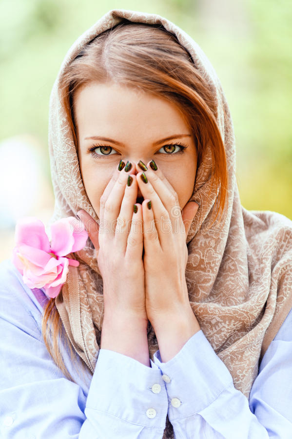Download Young Woman Covered Her Hands Royalty Free Stock Photos - Image: 27662648