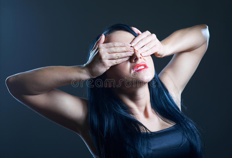 Download Young Woman Covering Her Eyes Stock Image - Image: 17807325