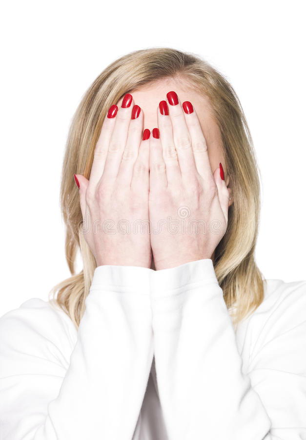 Young Woman Covering Her Face Stock Photos