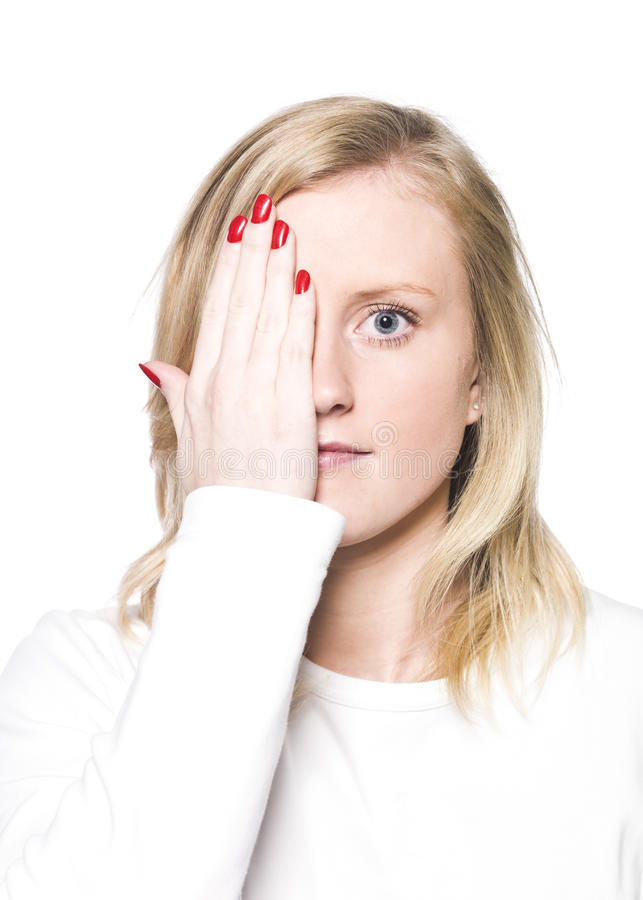 Young Woman Covering Her Face Royalty Free Stock Images