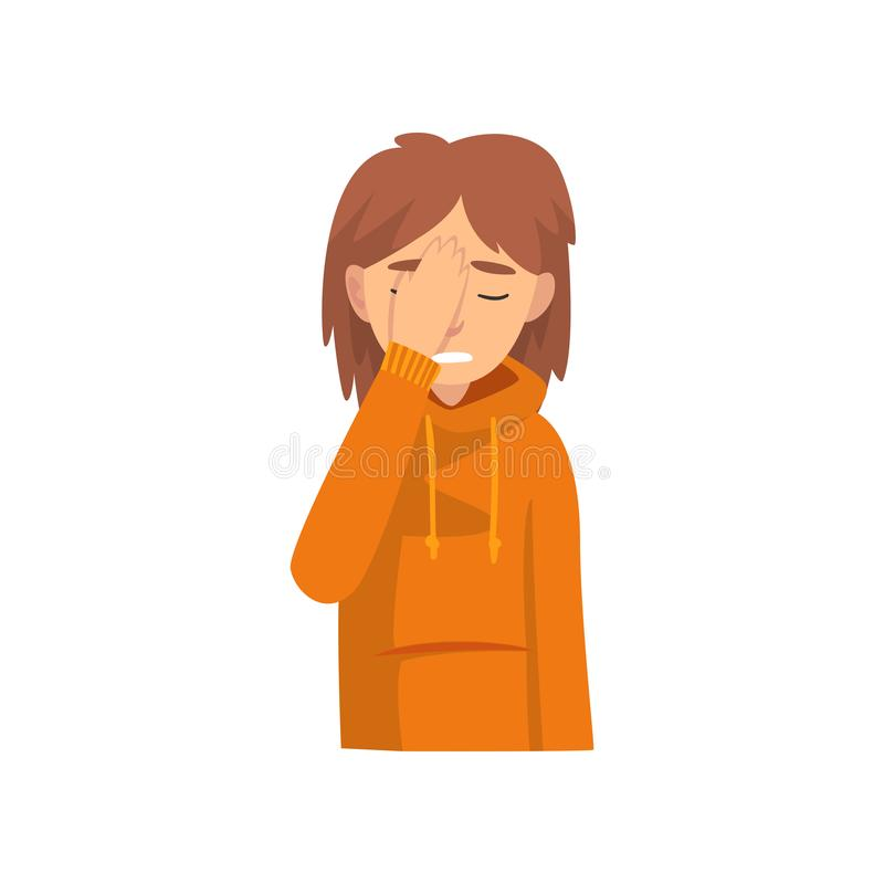 Young Woman Covering Her Face with Hand, Das Girl Making Facepalm Gesture, Shame, Headache, Disappointment, Negative. Emotion Vector Illustration on White vector illustration