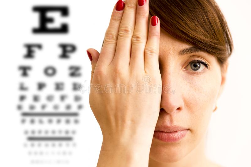 Young woman is covering his face with hand and checking his vision. Chart for eye sight testing in background. stock photography