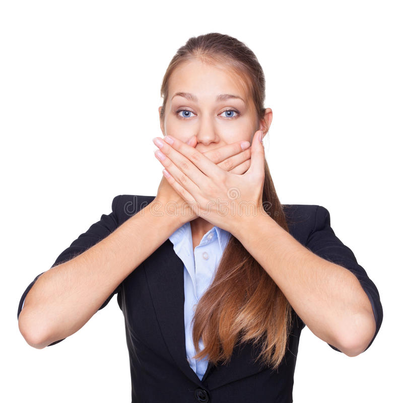 Young woman covering mouth with her hands royalty free stock photos