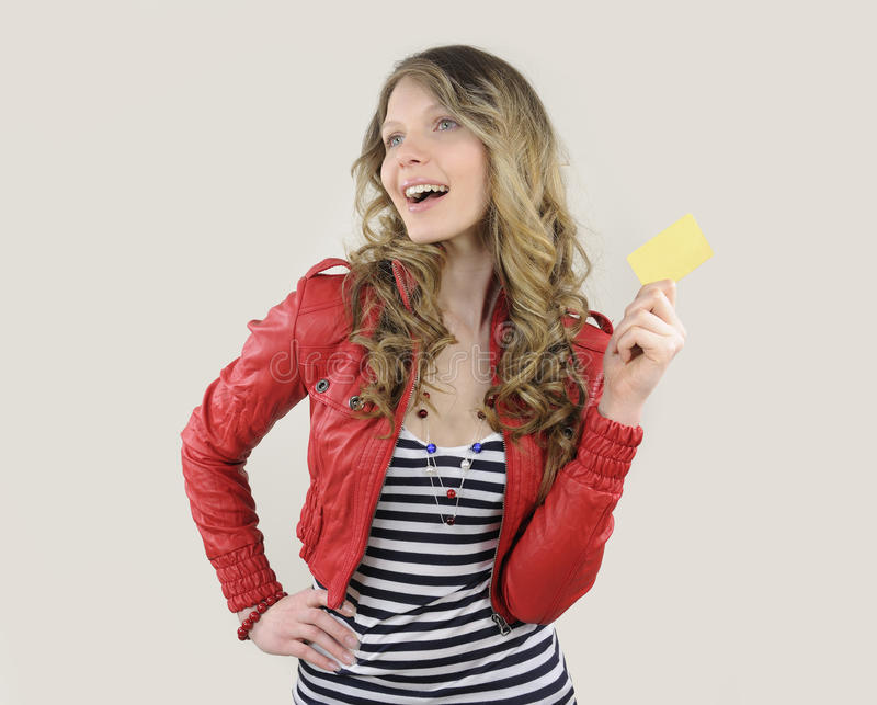 Download Young Woman With Credit Or Gift Card Stock Photo - Image: 24242858