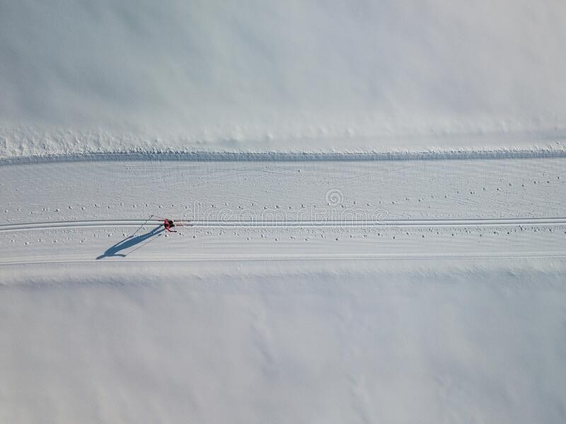 Young woman cross-country skiing on a winter day motion blurred image - aerial image royalty free stock image