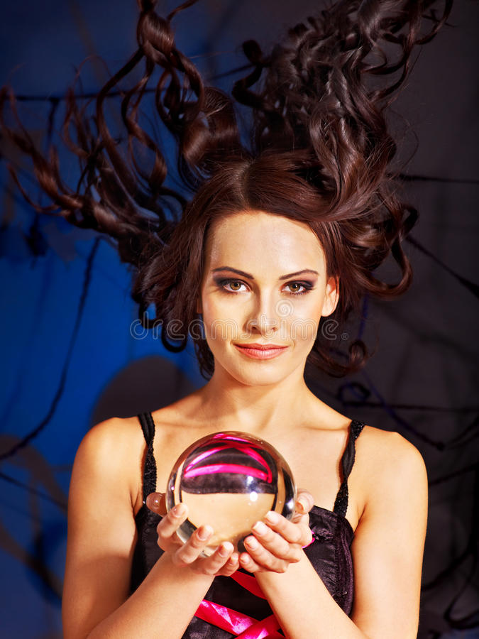 Download Young Woman  With Crystal Ball. Stock Image - Image: 28880579