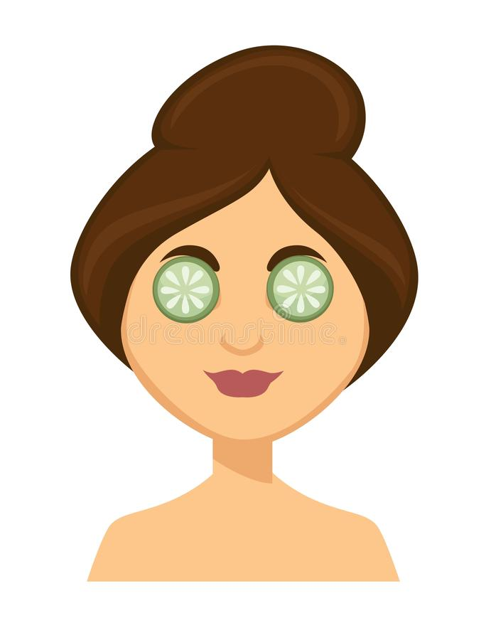 Young woman with cucumber slices on her eyes royalty free illustration