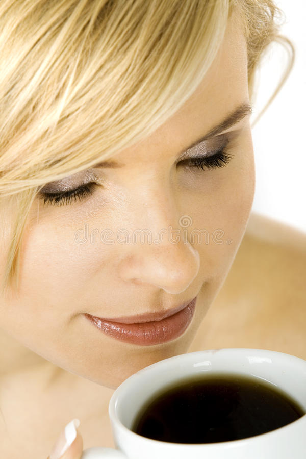 Young woman with a cup of coffee stock photos