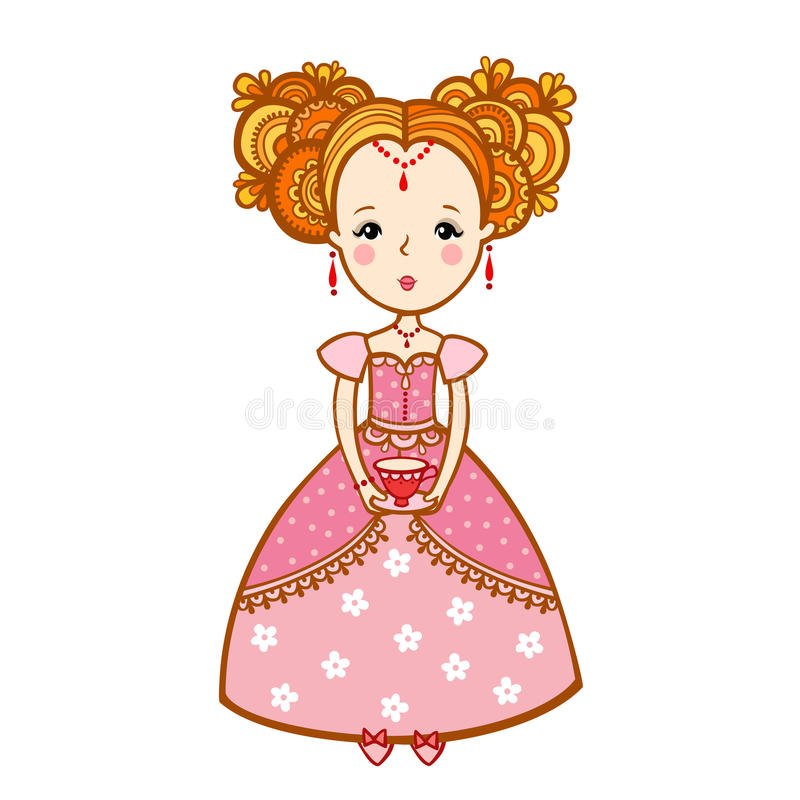 Young woman with a cup of tea. Young woman with a cup of tea and teapot. The Princess of the dreams in the clouds with a Cup of coffee. tea time royalty free illustration