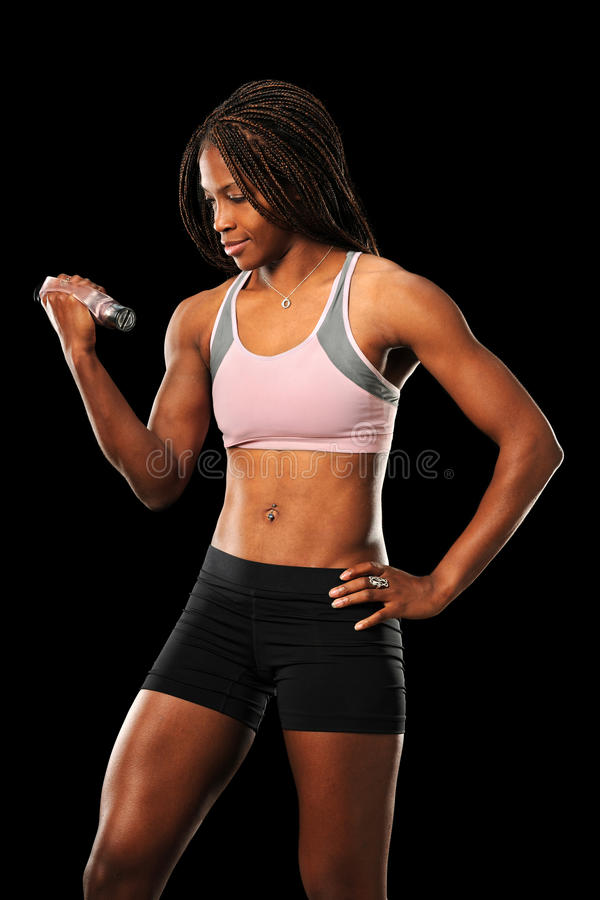 Download Young Woman Curling Dumbbell Stock Photo - Image: 17656070