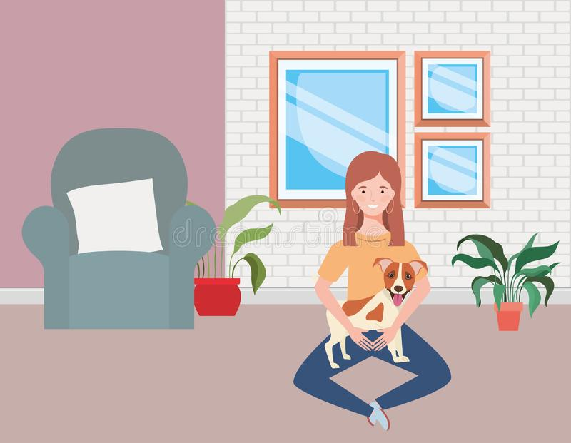 Young woman with cute dog in the living room vector illustration