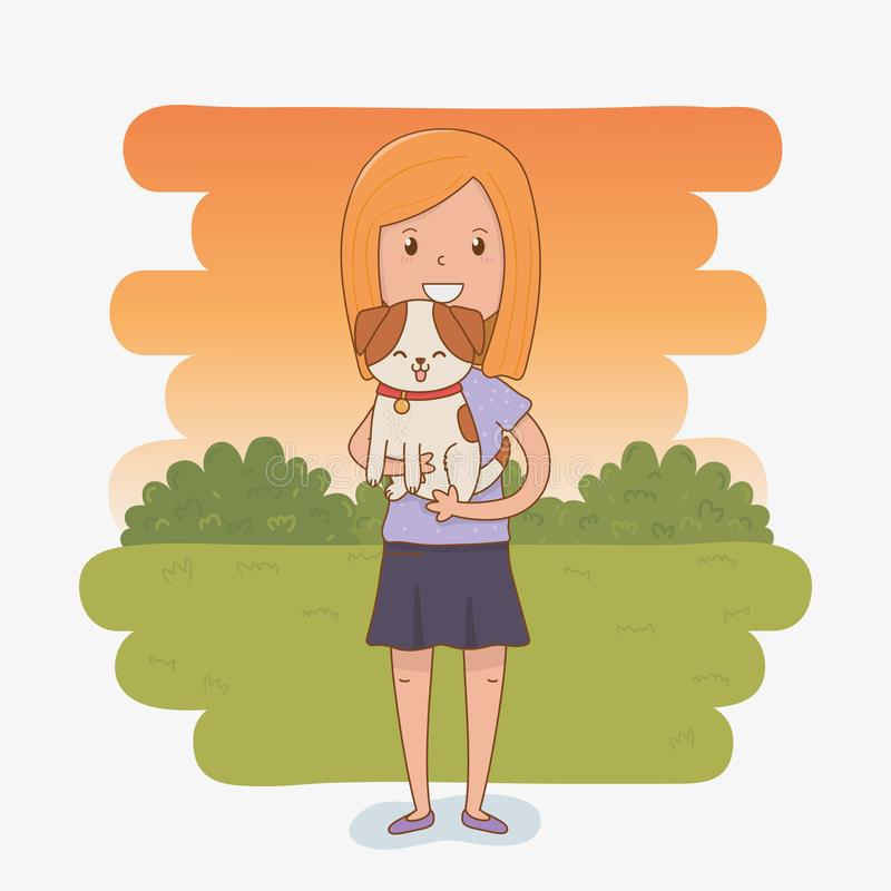Young woman with cute dog mascot. Vector illustration design vector illustration