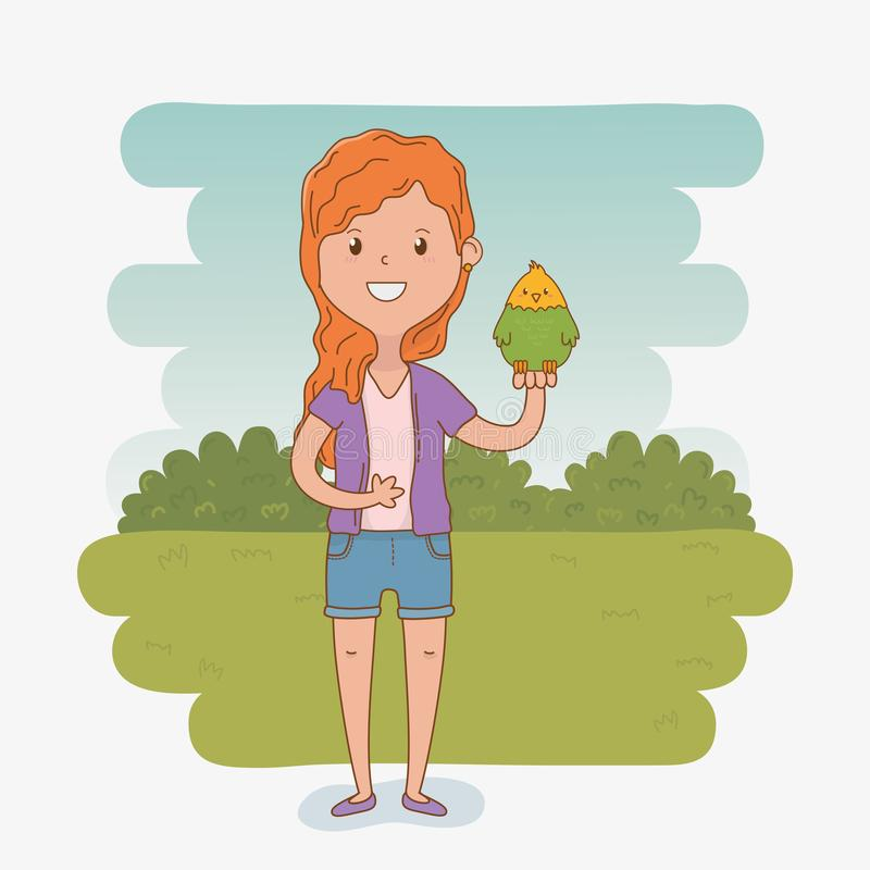 Young woman with cute parrot mascot. Vector illustration design stock illustration