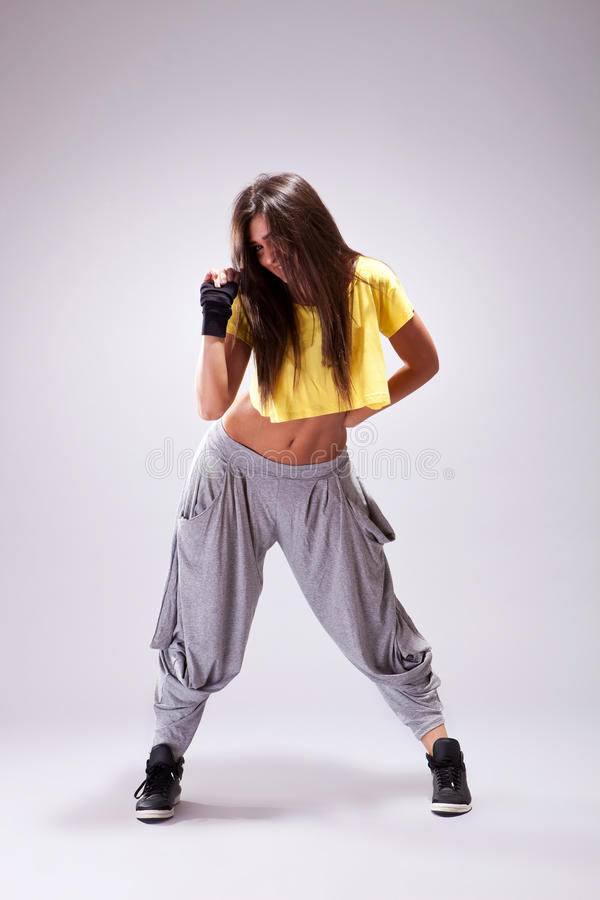 Young woman dancer posing stock images