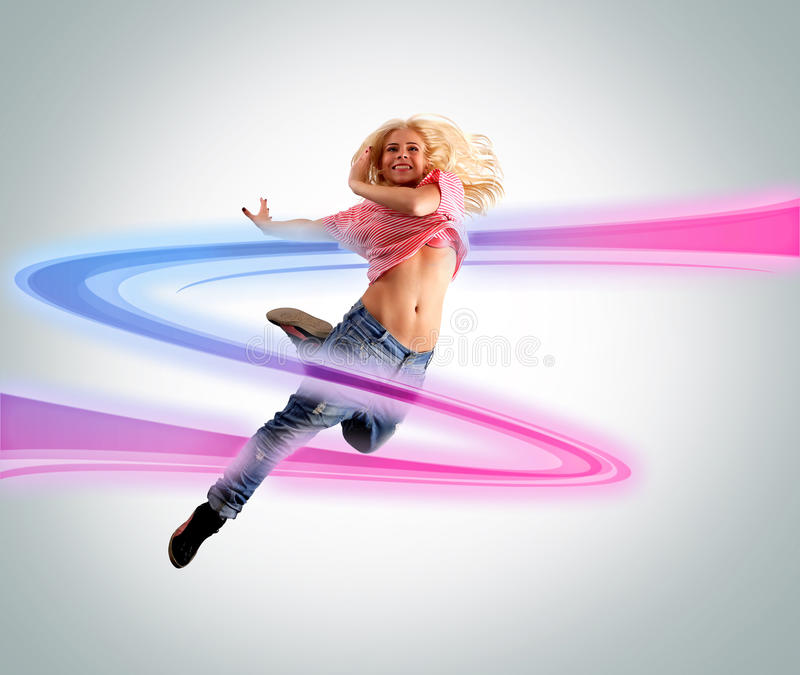 Young woman dancing. Colorful swoosh stock photos