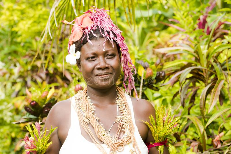 Dancer Solomon Islands between tropical vegetation royalty free stock photography