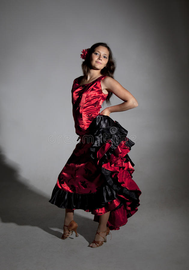Young woman dancing flamenco royalty free stock photography