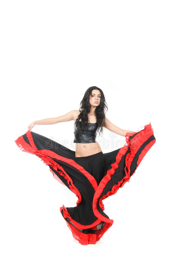 Young woman dancing latino over white stock photography