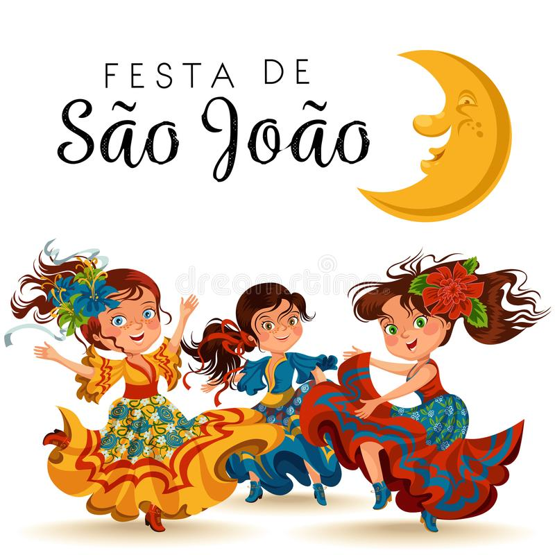 Young woman dancing salsa on festivals celebrated in Portugal Festa de Sao Joao, girl wear flower in head traditional royalty free illustration