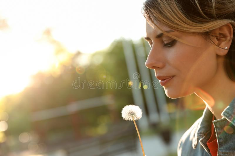 Young woman with dandelion in park on sunny day. Allergy free royalty free stock images