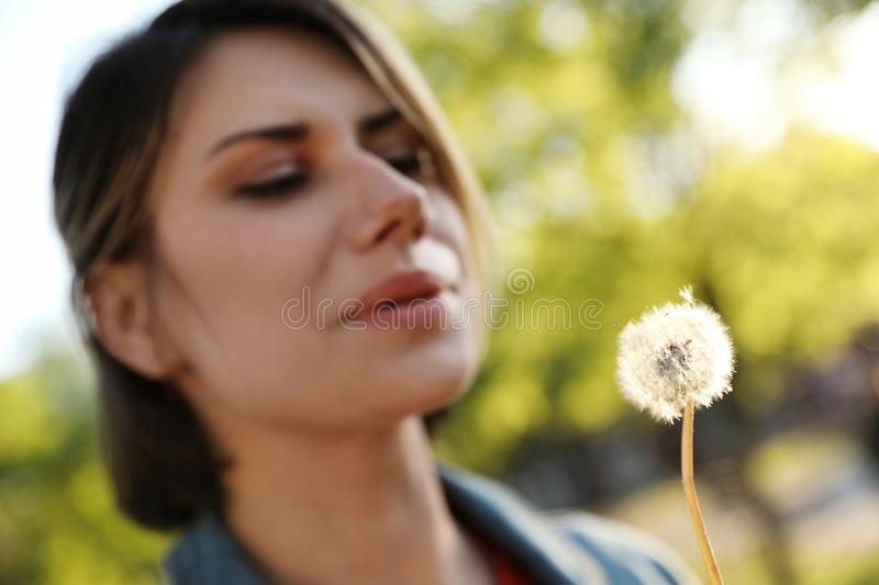 Young woman with dandelion in park on sunny day. Allergy free concept royalty free stock images