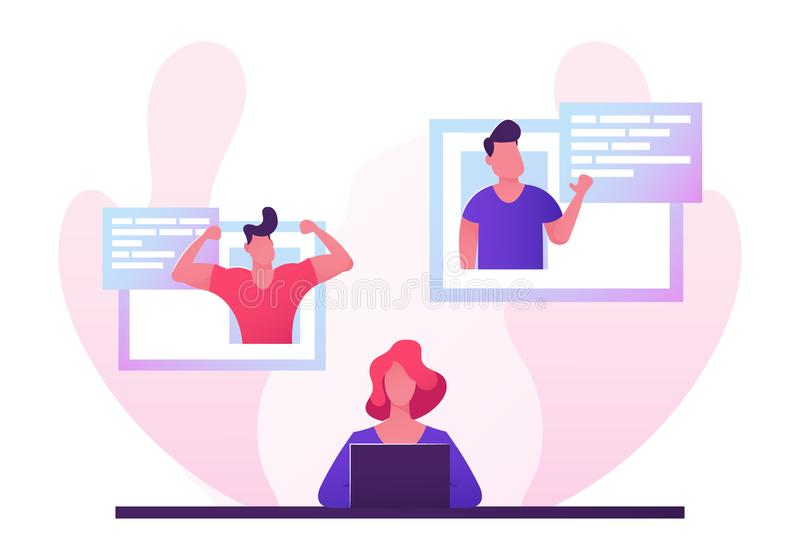 Young Woman on Dating Site. Beautiful Single Woman Browsing Online Date Website Using Laptop. Attractive Girl Sitting at Computer. Screen Chatting with Men in vector illustration